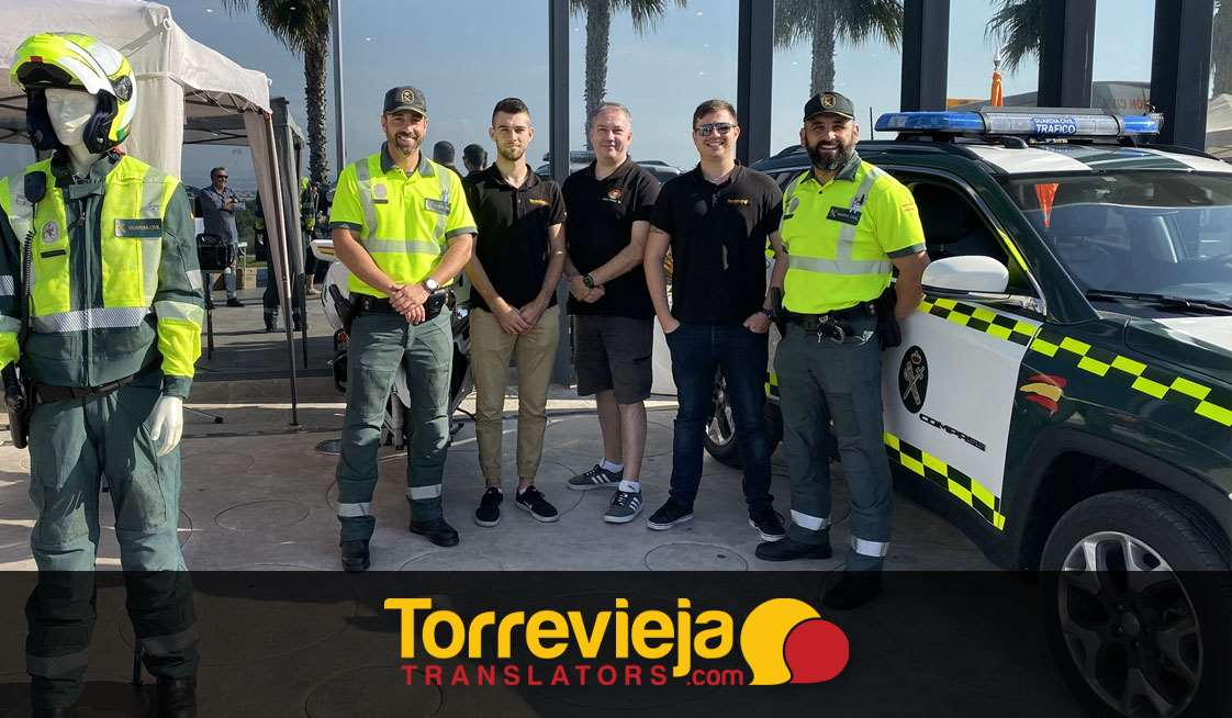 Sebastian, Clarke and Brandon with Police officers at Costa Blanca, Spain
